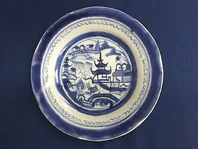"""Antique Chinese Export Blue & White Canton Plate 7 1/2"""""""