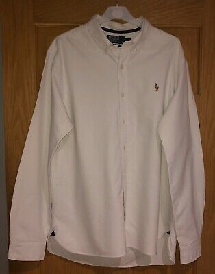 Mens Genuine Ralph Lauren Oxford Shirt In White Size Uk L In A Slim Fit Style