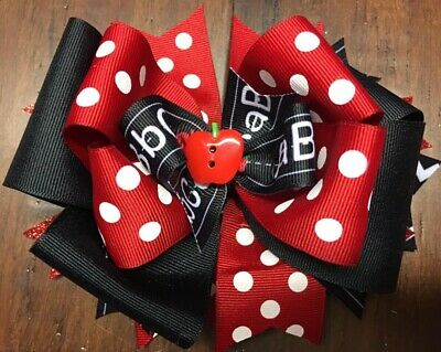 Back To School Girls Hair Bow Handmade Boutique Ribbon Stacked Abc Apple