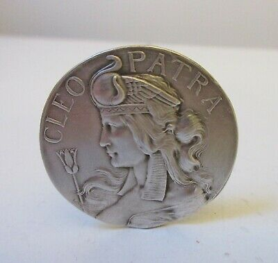 Antique Large Hatpin Sterling Silver Cleopatra Disc Unger Bros. Egyptian Revival