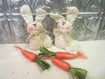Two Primitive Easter Bunnies - Spring Ornies or Bowl Fillers   #1957