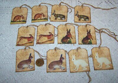 12~Easter~Primitive~Bunnies~Rabbits~Hares~Linen Cardstock~Gift~Hang~Tags