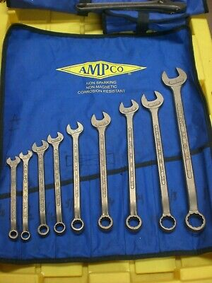 AMPCO 9 pc SAE Open End Box End Wrench Non Sparking Non Magnetic
