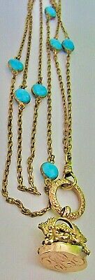 Antique Victorian Gold filled TURQUOISE Bead Pocket Watch Chain 14K Fob Unusual