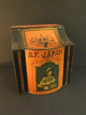 All Original Victorian General Store Tin Bin Tea B.f Japan Made In Nyc 1880