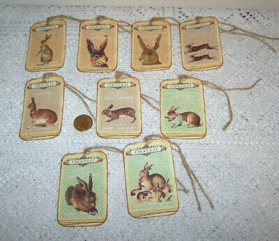 9~Easter~Spring~Chocolat~French~Bunnies~Le Lapin~Linen Cardstock~Gift~Hang~Tags