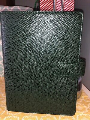 💯BUY NOW!! Auth Louis Vuitton Green Taiga Agenda MM Day Planner Cover Medium