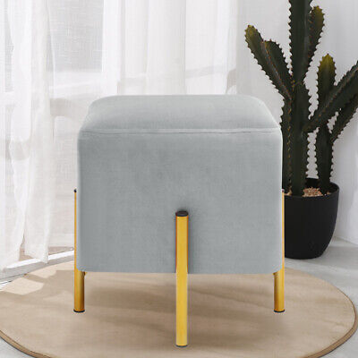Retro Storage Ottoman Stool Box Upholstered Footstool Velvet Pouffe Padded Chair