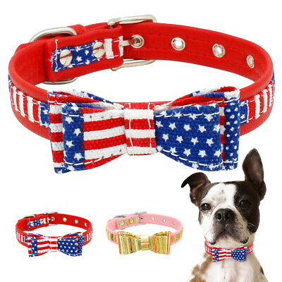 Adjustable Necklace Bow Tie Dog Cat Leather Collars Puppy Kitten Pet Acessories