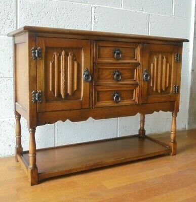 Lovely Oak Old Charm Linenfold Hall Cupboard Sideboard Console Table, Drawers