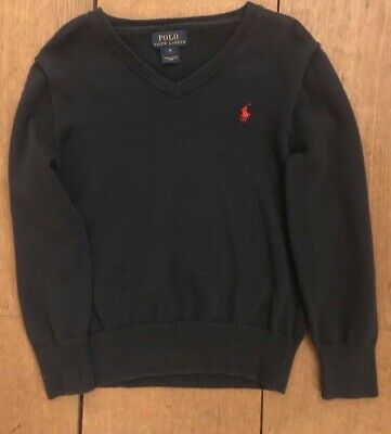 Boys/Kids Polo Ralph Lauren V Neck Jumper/Sweater Size 6 Years In Navy