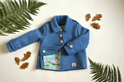 Harris Tweed Children's Blue Handmade Pea Coat - Age 3 years Unisex boy girl new