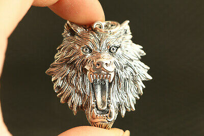 chinese solid 925 Silver Hand Cast wolf Statue Pendant necklace gift