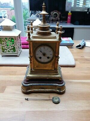 Antique Howel James & Co. Brass French Mantle Bell Strike Table clock