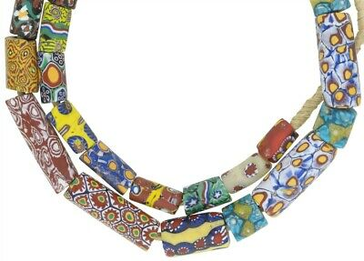 Antique millefiori Venetian glass beads Murano mosaic old African trade necklace