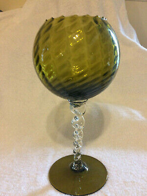 Vintage Retro Authentic Borske Sklo large glass goblet vase olive green 60's70's