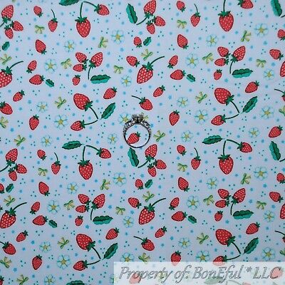 BonEful Fabric Cotton Quilt White Green RED Strawberry Antique Kitchen VTG SCRAP