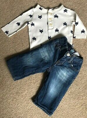 Boys Baby Gap Soft Fleece Lined Jeans and Fox Long Sleeve Body Suit 0-3 months