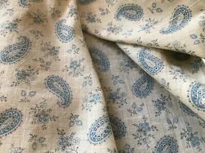 Antique French Fabric Small Scale Provençal Printed Cotton 1900's Blue Paisley