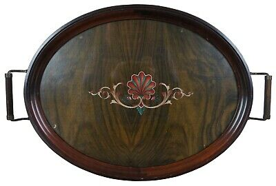 Antique Scalloped Walnut Victorian Handled Tea Coffee Tray Inlaid Shell Design