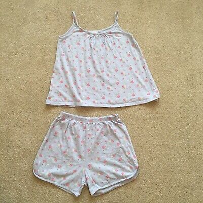 Little White Company 10-11 Y Floral Strappy Shortie Summer PJs Blue Pink