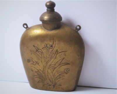 Vintage Chinese Large Etched Brass Snuff Bottle
