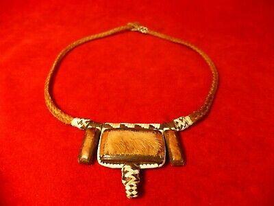 Native American Sioux Indian Braided Buckskin Necklace Porcupine Quill Deer Hide