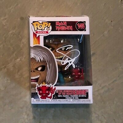 Funko Pop Iron Maiden Signed Number Of The Beast Eddie Steve Harris Autographed