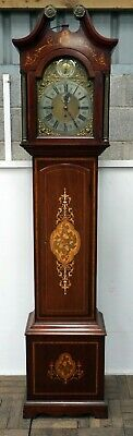 A Good 3 Train Inlaid Edwardian Mahogany Grandfather Clock