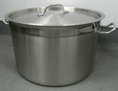 Commercial Stainless Steel Stock Pot / Stew Soup Boiling Pan With Lid.