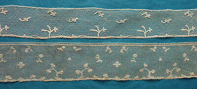2 antique late 18th / early 19th century bobbin lace  borders