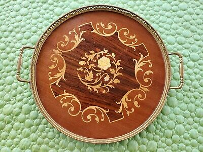 Italian Sorrento Marquetry Inlaid Wood Tray with Handles and Metal Gallery