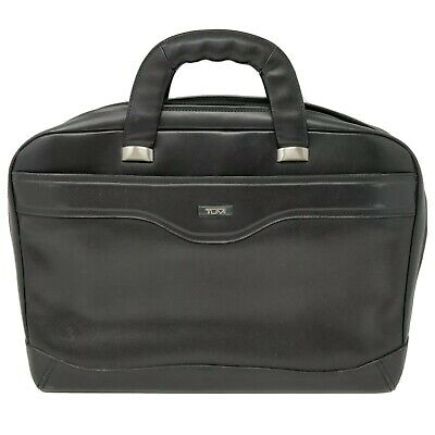 TUMI 2947D Men's Black Leather Briefcase