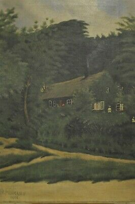 Antique Early 20th Century (1906) Landscape Country Cottage Oil Painting, Signed