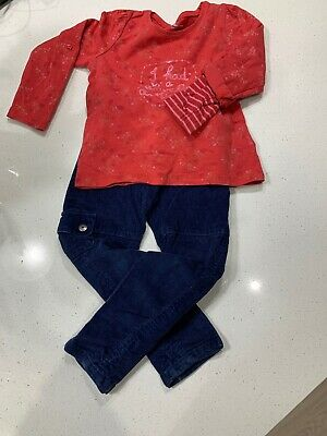 Vertbaudet girl age 3 outfit long Sleeved Red And Blue Cords