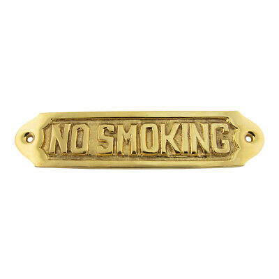 Solid Brass Ships NO SMOKING Door Sign Maritime Plaque Nautical Home Wall Decor