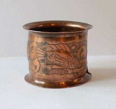 Antique Newlyn Copper Arts & Crafts Napkin Ring. Repousee Work, Fishes & Shell