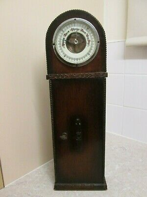 ANTIQUE BAROMETER IN ART DECO WOOD CLOCK CASE / SMALL CUPBOARD - C.1920s