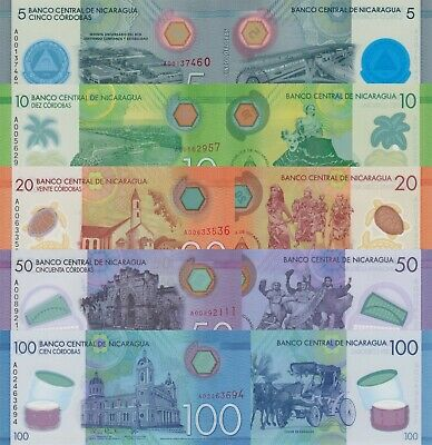 Nicaragua  Note Set: 10, 20, 50 & 100 Cordobas (2014), p209-p212/Polymer UNC