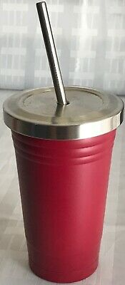 OGGI 16oz Red Stainless Steel Tumbler w/stainless straw