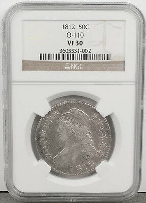1812 Capped Bust Silver 50C Half Dollar Overdate Error O-110 NGC Graded VF30