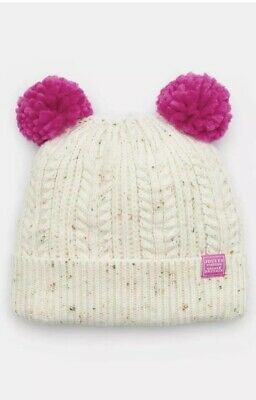 New Joules Ailsa Girls Knit Winter Cream & Pink Double Pom Hat  Age 8-12 Years