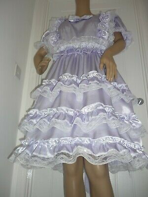 Sissy Adult Baby luxury Lilac Satin & lace Frilly Dress  SIZE 18/20