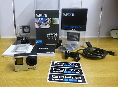 GoPro HERO4 Black Edition Action Camera Camcorder**BOXED** with LCD TOUCH BACPAC