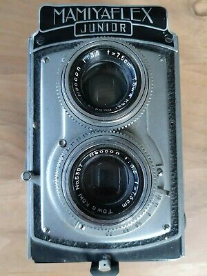 Vintage MAMIYAFLEX JUNIOR TLR camera with leather case