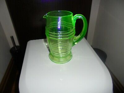 Art Deco Green Uranium Glass Water Jug (UV Tested) Over 2 Pts Capacity.