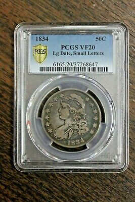 1834 50C Capped Bust Half Dollar Large Date, Small Letters PCGS Graded VF20