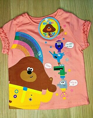 Hey Duggee & The Squirel Club Baby Girls Pink Cotton T-Shirt Top 2 3 4 years