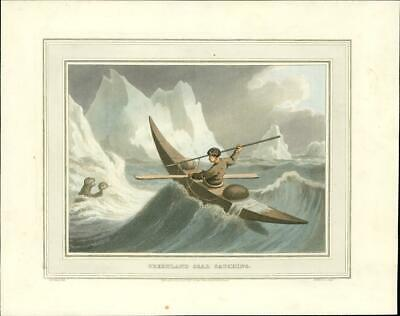 1814 Field Sports 1st Edition Antique Aquatint  'GREENLAND SEAL CATCHING ' (89)