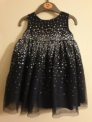 Baby Girls H&M Grey Sequin Soft Netted Party Dress Age 4-6 Months - WORN ONCE